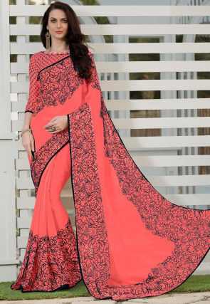 Printed Chiffon Saree in Dark Peach