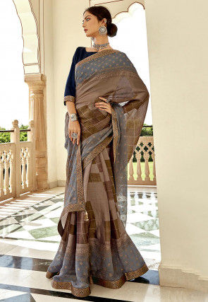 Printed Chiffon Saree in Fawn