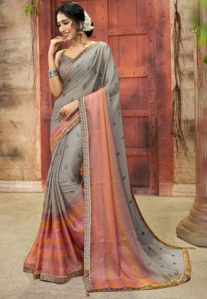 Printed Chiffon Saree in Grey