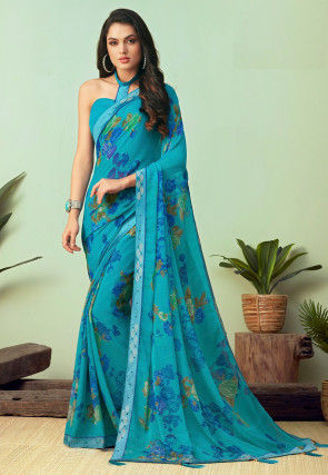 Printed Chiffon Saree in Light Blue