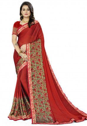 Printed Chiffon Saree in Maroon