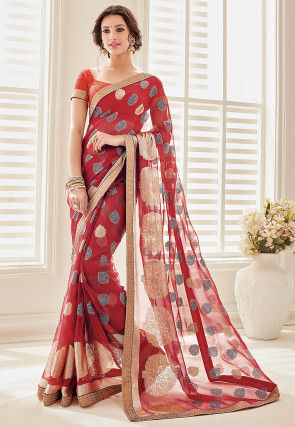 Printed Chiffon Saree in Maroon