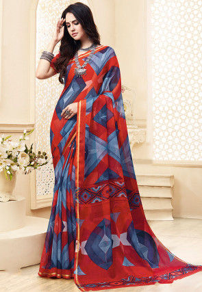 Printed Chiffon Saree in Red and Blue