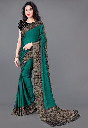 Printed Chiffon Saree in Teal Green