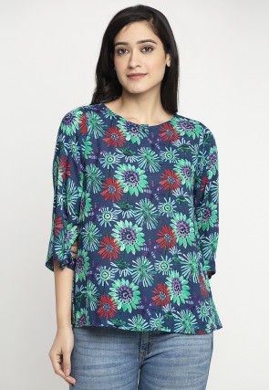 Printed Chiffon Top in Navy Blue
