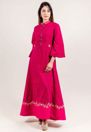 Printed Cotton A Line Dress in Fuchsia