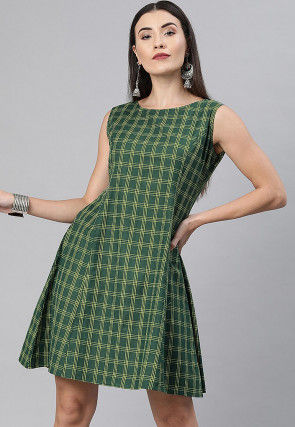Printed Cotton A Line Dress in Green