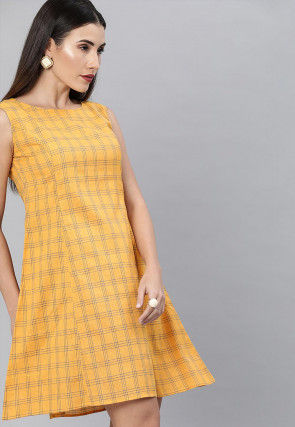 Printed Cotton A Line Dress in Yellow