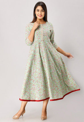 Printed Cotton A Line Flared Kurta in Light Blue