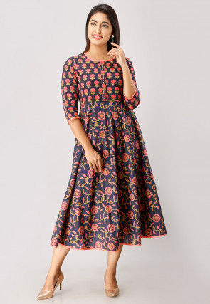 Printed Cotton A Line Flared Kurta in Navy Blue and Dark Peach