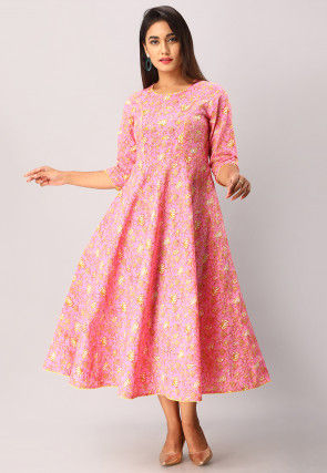 Printed Cotton A Line Flared Kurta in Pink