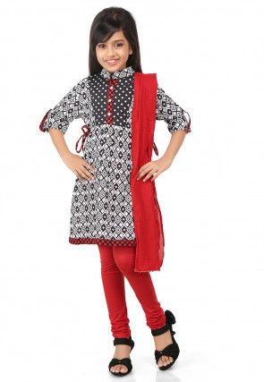 Printed Cotton A Line Kameez in Black and White