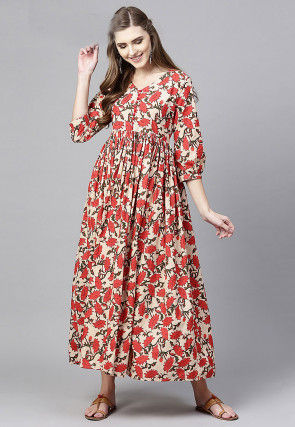 Printed Cotton A Line Kurta in Beige and Red