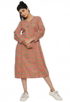 Printed Cotton A Line Kurta in Beige and Rust