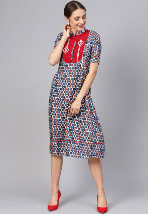 Printed Cotton A Line Kurta in Blue and Multicolor