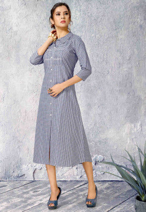 Printed Cotton A Line Kurta in Blue and Off White