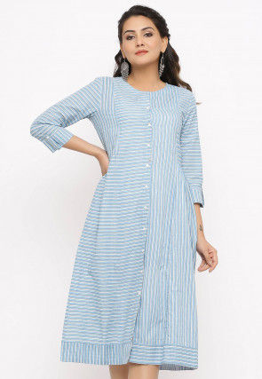 Printed Cotton A Line Kurta in Blue and White