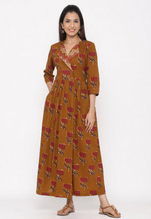 Printed Cotton A Line Kurta in Brown
