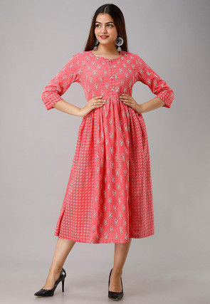 Printed Cotton A Line Kurta in Coral Pink