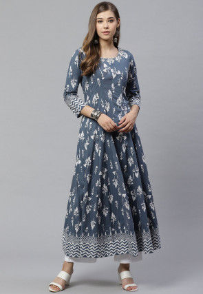 Printed Cotton A Line Kurta in Grey