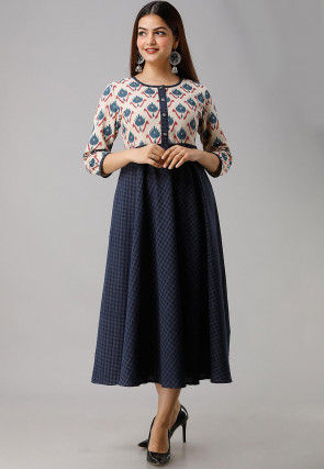 Printed Cotton A Line Kurta in Navy Blue and Off White