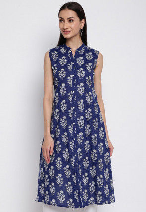 Printed Cotton A Line Kurta in Navy Blue