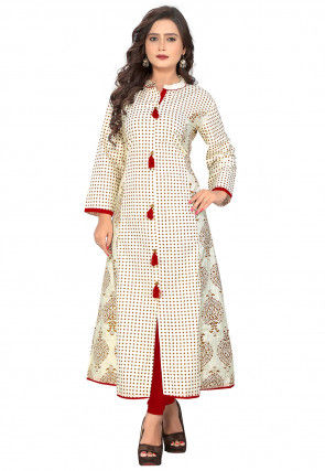 Printed Cotton A Line Kurta in Off White