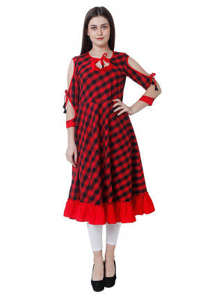 Printed Cotton A Line Kurta in Red and Black