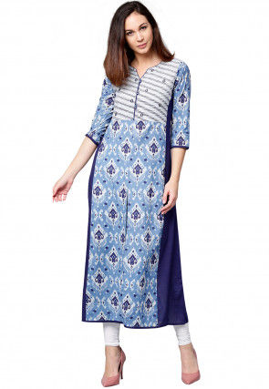 Printed Cotton A Line Kurta in Sky Blue and Dark Blue
