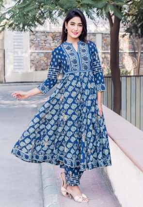Printed Cotton A Line Kurta Set in Dark Blue