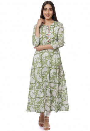 Printed Cotton A Line Kurta Set in Light Green
