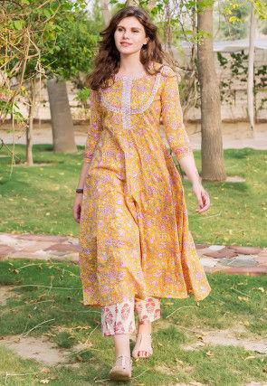 Printed Cotton A Line Kurta Set in Yellow