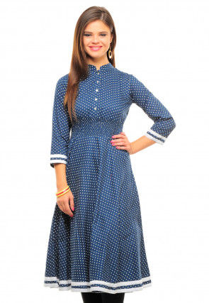Printed Cotton A Line Kurti in Blue
