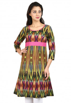 Printed Cotton A Line Kurti in Multicolor