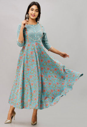 Printed Cotton A Line Long Kurta in Sky Blue