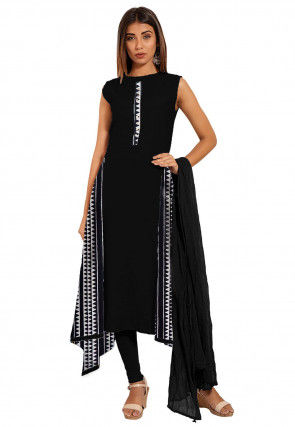 Printed Cotton A Line Suit in Black