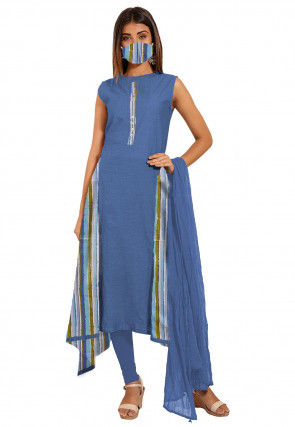 Printed Cotton A Line Suit in Blue