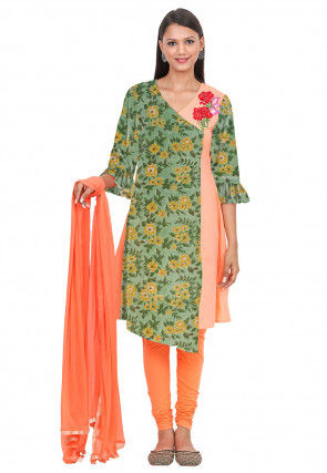 Printed Cotton A Line Suit in Green and Peach