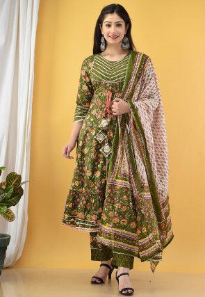 Printed Cotton A Line Suit in Olive Green
