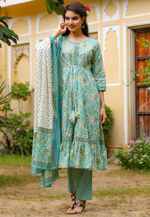 Printed Cotton A Line Suit in Sky Blue