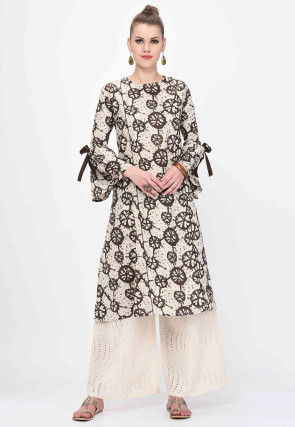 Printed Cotton A Line Tunic in Light Beige