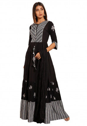 Printed Cotton Abaya Style Suit in Black