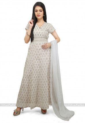 Printed Cotton Abaya Style Suit in Cream