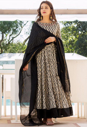 Printed Cotton Abaya Style Suit in Light Beige