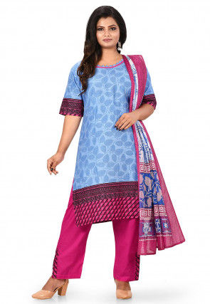 Printed Cotton Abaya Style Suit in Light Blue