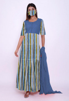 Printed Cotton Abaya Style Suit in Multicolor and Blue