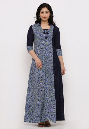 Printed Cotton Abaya Style Suit in Navy Blue
