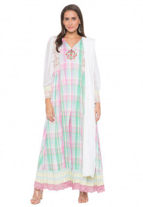 Printed Cotton Abaya Style Suit in Off White and Multicolor