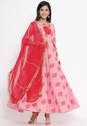 Printed Cotton Abaya Style Suit in Pink