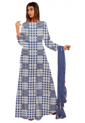 Printed Cotton Abaya Style Suit in White and Blue